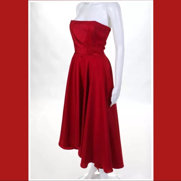 ALLISON PARRIS WOMENS RED STRAPLESS CHARM GOWN